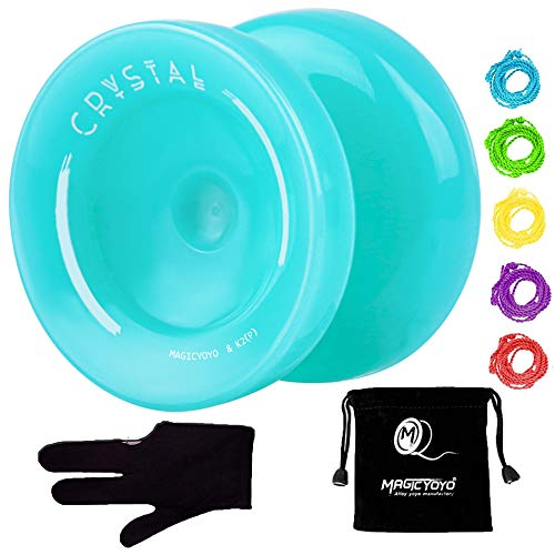 MAGICYOYO K2 Responsive Plastic Fingerspin Yoyo for Kids Beginners Yo-Yo with Yoyo Glove, Yoyo Bag, 5 Yoyo Strings - Lake Blue