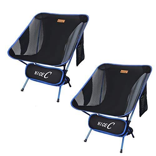 Nice C Silla Ultraligera, Portátil, Plegable, para Acampar, Compacta Y Resistente Al Aire Libre, para Acampar con 2 Bolsas De Almacenamiento Y Bolsa De Transporte (2 Paquetes De Azul)