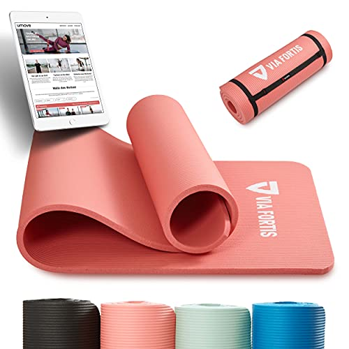 VIA FORTIS Tappetino da ginnastica con tracolla, antiscivolo e robusto (193 x 61 x 1,5 cm), ideale per yoga, pilates, allenamento, attività all'aperto, palestra e casa