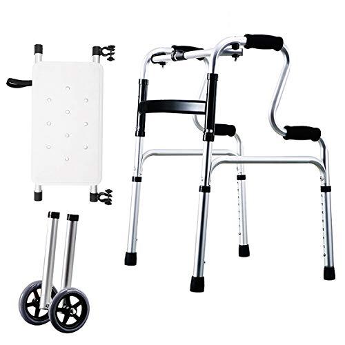 Relubby Inklapbare loophulp voor senioren, lichte luxe loophulp met 2 knoppen, multifunctionele kruk voor ouderen op wielen met wielen van 5 inch