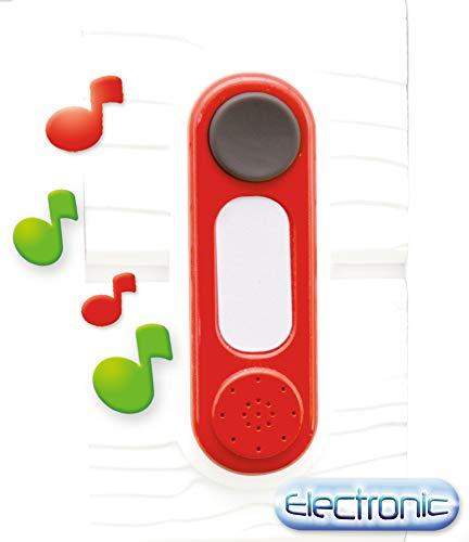 Smoby 810908WEB Sonnette elektronische Türklingel – Klingel für Spielhäuser, zum Nachrüsten, wetterbeständig, einfacher Anbau, rot, weiß