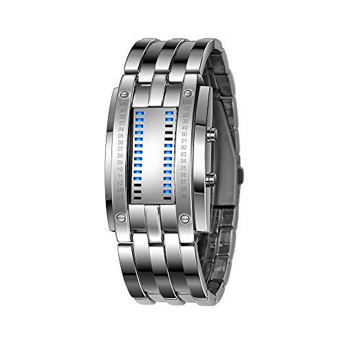 FeiWen Unisex Binär Digitale Silber Edelstahl Uhren Fashion Casual Stil Eckig Zifferblatt Blau LED Litch Einzigartig Armbanduhren Kalender Sportuhr (Herren)