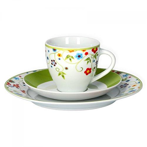 Van Well Kaffeeservice 18-TLG. für 6 Personen Serie Vario Porzellan - Farbe wählbar, Farbe:Flowers