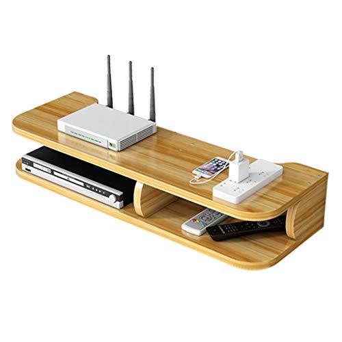 TV-Set-Top-Box Wandregal Router Aufbewahrungsbox Holzwand Wand WiFi Rack Steckdose Rack Massivholz Router Rack (Color : Cherry Wood Color, Size : 57 * 19.5 * 10cm)