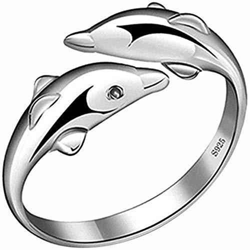 WLABCD Sortija Mujer Aleación Anillo de Creativo Muchachas Delfín Diseño Exquisito Joyería Regalos Elegante/Plata/Opening