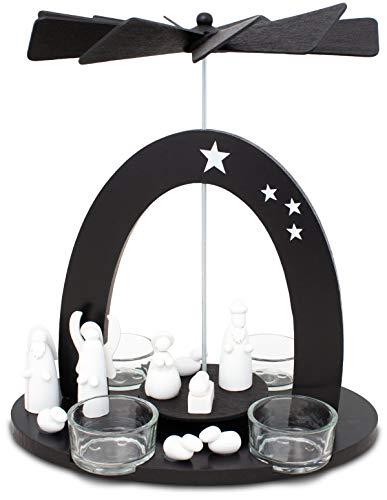 Brubaker Weihnachtspyramide 22 cm - Maria, Josef und Jesus - Teelichtpyramide mit 4 Teelichthaltern aus Glas - Schwarz Weiß