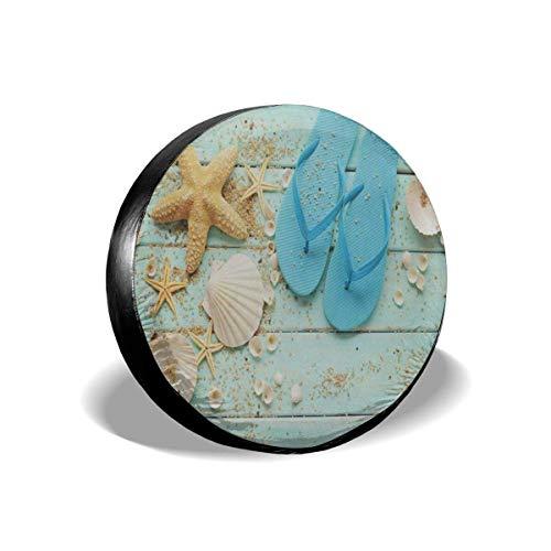 FETEAM Repuesto Cubierta de neumático 14'-17' Beach Star Seashell Son Wooden Cubierta Ligera para Autos de Repuesto