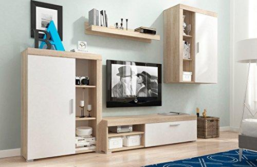 Furniture24 Wohnwand OLI Anbauwand Tv Schrank Kommode Wandregal Hängeschrank (Sonoma Eiche/weiß matt)