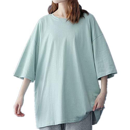 Camiseta básica de algodón de las mujeres de verano de gran tamaño sólido camisetas casual suelta camiseta O-cuello femenino Tops, verde, XL
