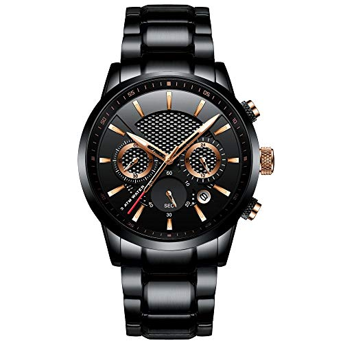 Huante Reloj de los hombres 30m impermeable de la moda para hombre relojes Top marca de lujo reloj de acero cronógrafo masculino reloj Saat relojes hombre