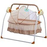 ベビーベビーベッドクレードルオートロッキングチェア新生児Bassinets睡眠ベッド、ベビークレードルはロッキング音楽遠いコントロールスリーピングバスケットベッド新生児の赤ちゃんのスイングをスウェイ、電気スタンドスイング (Color : Khaki)