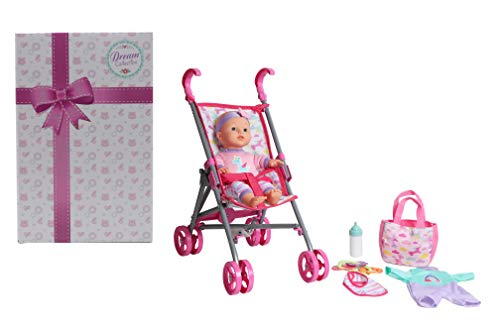 """DREAM COLLECTION 12"""" Baby Doll Care Gift Set with Stroller"""