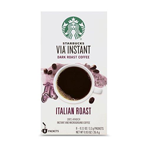 Starbucks VIA Instant Coffee Dark Roast Packets — — 100% Arabica — 1 box (8 packets) Italian Roast 0.93 Ounce