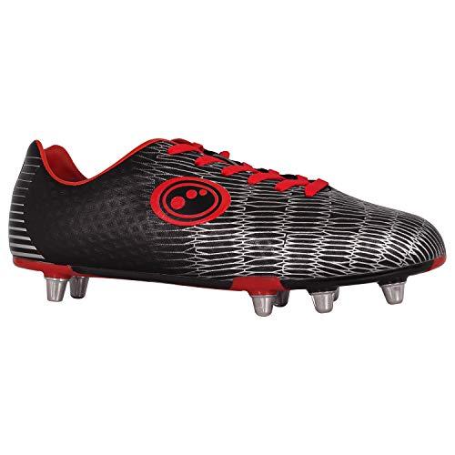 Optimum Junior Viper Senior Rugby Boots, Black/Silver/Red, Size 6