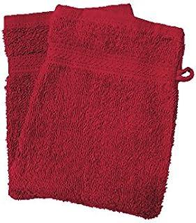 Soleil d'ocre 421101 Lote de 2 Manoplas de baño Douceur Rojo 550gr/m2