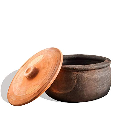 Clay Cooking Pots with Lids, Clay Pots for Cooking, Earthenware Rice Pots, UNGLAZED Twice Baked Traditional Casserole for Cooking on Stove Top, Vintage Terracotta Roaster (Small)