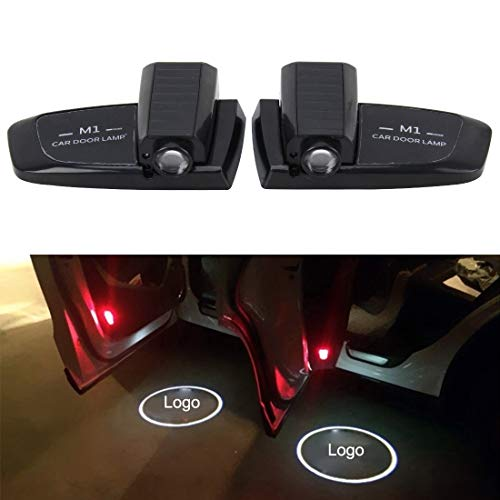 SAHUD Autotür Willkommenslicht 2 PCS Intelligent Induktion Wireless Projector Auto-Tür-Glow Begrüßungsset Lichter Step-Geist-Schatten-Lampen for Land Rover Cars (Color : Black)