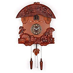 Polaris Clocks German Style Cuckoo Clock with Night Mode and Quartz Movement (Brown)