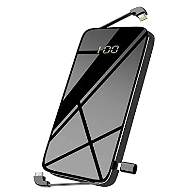 DULLA Portable Phone Charger Power Bank, M20000 10000mAh Built-in Cable with LCD Display for iPhone and All Digital Devices