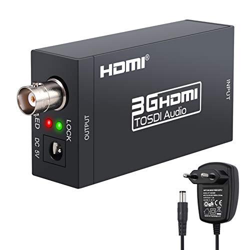 Conversor HDMI a SDI Adaptador HDMI 1080P a SD-SDI HD-SDI 3G-SDI Convertidor de Video y Audio SDI 2.970 Gbit/s Distancia 300metros con Adaptador de Corriente 5V para Carama SDI Homecinema