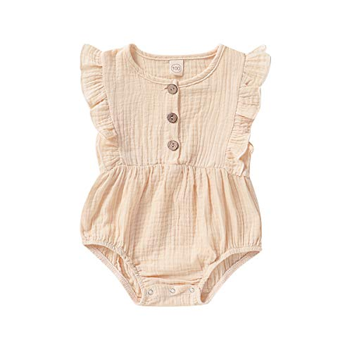 Newborn Girl Clothes Baby Girl Summer Outfits Ruffle Sleeve Oneises Biege Cream Romper Bodysuits Sleeveless Jump Suits Linen Cotton Clothing Going Home Outfits 0-6 Months