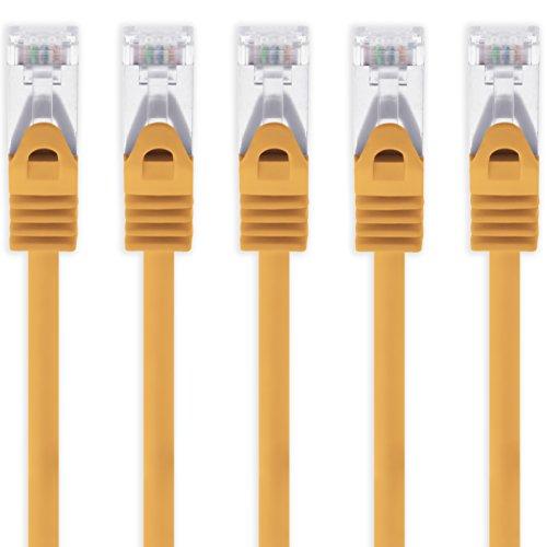 Cable Ethernet Cat7 Cat.7 Gigabit Cable de Red LAN con Conector Cat6a RJ45 (con Doble blindaje) 500 MHz Naranja - 5 Piezas 1m