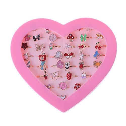 siwetg 36 anillos de dibujos animados ajustables para fiestas de niños y niñas, figuras de acción de juguete de dibujos animados para niños (colores aleatorios)