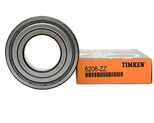 TIMKEN 6206-2Z 2 Pcs Double Metal Seal Bearings 30x62x16mm, Pre-Lubricated and Stable Performance and Cost Effective, Deep Groove Ball Bearings.