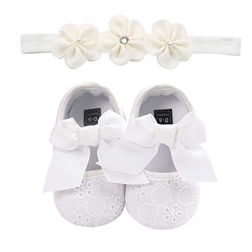 TININNA Zapatos de Niña con Diadema Regalo Set Bautizo Lovely Algodón Flor Suave Suela Zapatillas Antideslizantes Zapatos de Princesa 0-18 Meses