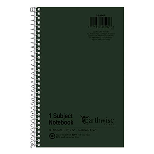 Ampad Single Wire Notebook, Recycled, Size 8x5, 1 Subject ,Green Cover, Narrow Ruled, Not 3 Hole Punched, 80 Sheets per Notebook (25-400R)