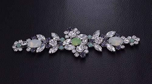 BrillaBenny Aplicación de piedras Castoni de lujo para coser, de cristal y pedrería, decoración para vestido de novia, color lila ópalo, 16 cm x 4,8 cm