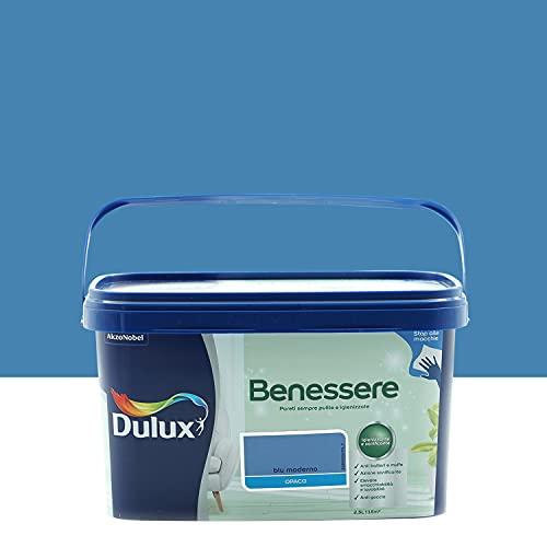 Dulux Benessere Pittura Colorata all'Acqua per Interni Superlavabile Anti Muffa Anti Batteri con Ioni D'Argento, 2.5 Litri, Blu Moderno
