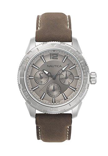 Nautica Herren Datum klassisch Quarz Uhr mit Leder Armband NAPSTL002
