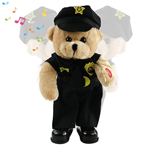 Houwsbaby Singing Police Teddy Bear Dancing Plush Bear Toy Musical Stuffed Animal in Justicial Uniform Electric Interactive Animated Gift for Kids Boy Birthday Christmas, Black, 14''