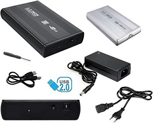 """CASE BOX custodia ESTERNO PER HARD DISK SATA 3,5"""" disco rigido con telaio rimovibile USB 2.0 HARDISK HDD ALLUMINIO viti e alimentatore"""