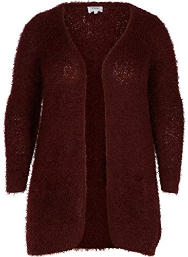 Zizzi Damen Cardigan, LS Strickjacke, Rot (Port Royal 1377), 50 (Herstellergröße: L)