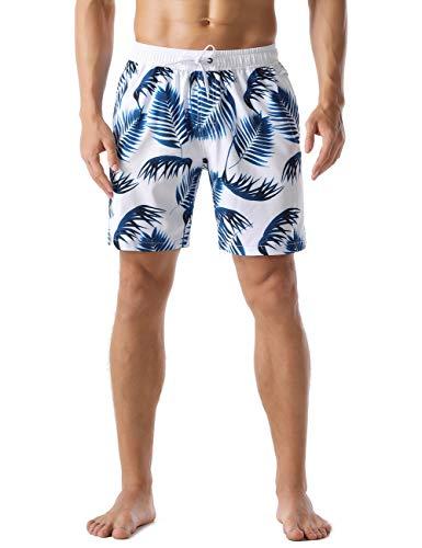 Nonwe Men's Swim Shorts Quick Dry Beachwaer Leaf Print Drawstring Board Shorts Blue 34