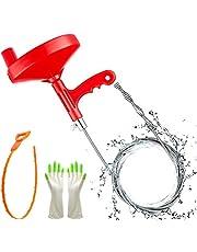 Buisreinigingsspiraal voor de gootsteen, 7,62 m, flexibele spiraal met klauw, drain tool snake, haarafvoer, klomp remover, reinigingstool voor keuken, badkamer, gootsteen, wastafel