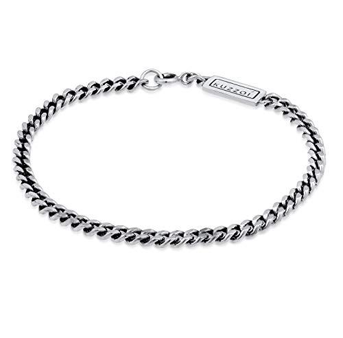 Kuzzoi 0202772120 - Bracciale da uomo in argento Sterling 925 massiccio, con anello a molla, 5 mm di larghezza, 10 g di peso e Argento, colore: argento, cod. 0202772120_21