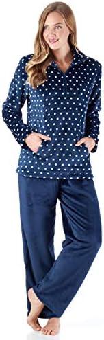 Sleepyheads Women s 1 4 Zip Fleece Pullover with Pocket 2 Piece Loungewear PJs 1 4 Zip Set Navy product image