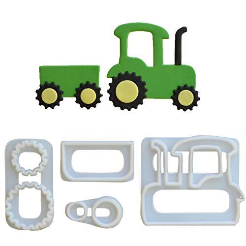1 FMM Traktor Ausstecher-Set aus Kunststoff | Bauernhof | Trecker | für Fondant und Blütenpaste