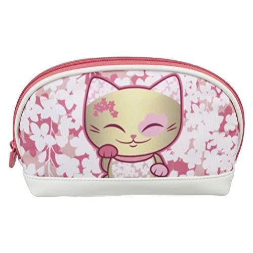 Pochette - trousse à maquillage chat porte bonheur Mani the Lucky Cat doré rose blanc