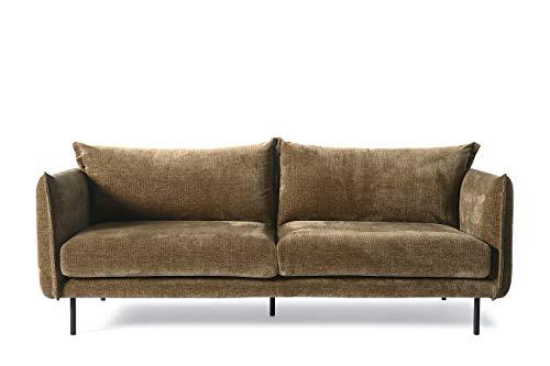 Möbelisten I Modernes Sofa in 213x97x86 cm in Braun Leder Mischfaser I Polster Zweisitzer Couch mit schwarzen Metallfüßen