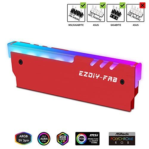 EZDIY-FAB ARGB RAM Kühler RGB DDR Speicher Kühlkörper Kühlweste Fin Strahlung für DIY PC DDR3 DDR4 (kompatibel mit ASUS Aura Sync, GIGABYTE RGB Fusion und MSI Mystic Light Sync) Rot-1 Pack