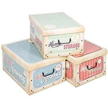 3 DEBAJO DE LA CAMA PLEGABLE cartón Cajas Almacenaje Ligero Con Tapas & Tiradores - Vintage Cajas Almacenaje: Amazon.es: Hogar