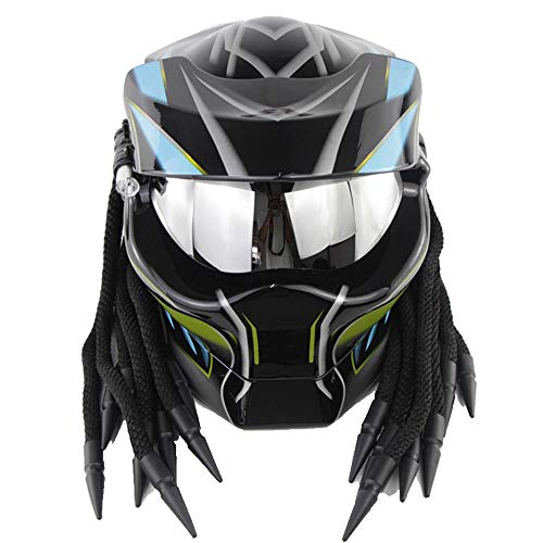 ZJRA Casco de Motocross de Rostro Abierto, Casco de depredador, Casco de Moto para Moto Descubierto, Aprobado por el Dot, Cabello Trenzado, LED -Bright,M57~58cm