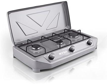 EFBA - Hornillo de Gas de Cocina portátil para Camping, Color marrón Bianco