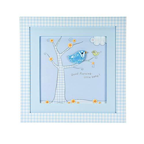 Mousehouse Gifts pastelblauwe ingelijste afbeeldingen muurschildering met kleine vogel design voor baby jongen kinderkamer babykamer