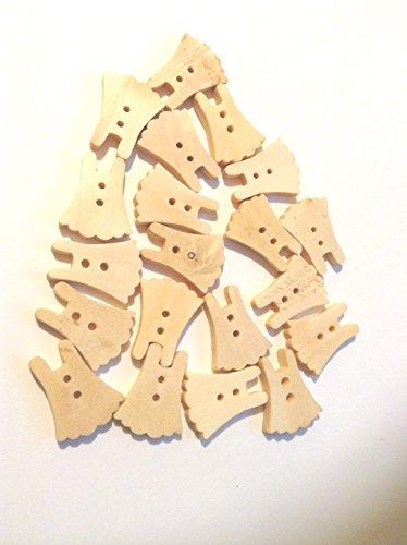 Set van 20 eenvoudige houten knopen met twee gaten en in de vorm van een jurk. Ideaal voor naaien, knutselen en Scrapbooking. Ze zijn gelakt maar kunnen worden geverfd. Ze zijn ongeveer 22mm hoog.