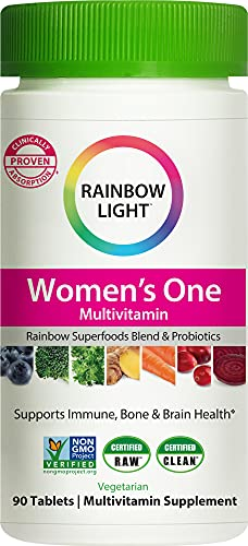 Rainbow Light Women's One Daily High Potency Multivitamin for Immune Support with Vitamin C, D & Zinc, 90 Tablets, Non-GMO, Vegetarian & Gluten Free, 3 Month Supply